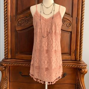 Xtraordinary rose pink lace dress- size L